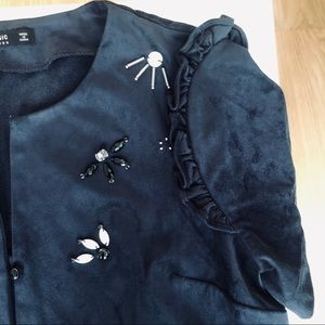 Zara Navy Blue Suede Crop Top (S)